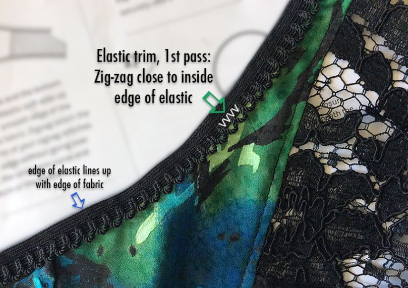 Elastic trim: sewing the first pass