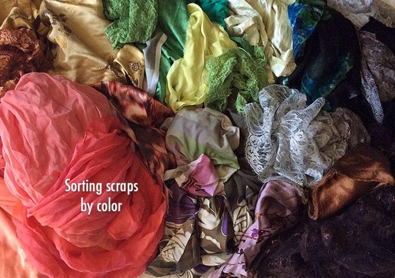 Scraps sorted by color