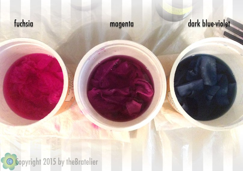 Dyeing the pieces